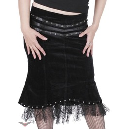 Form Fitting Knee Length Velour Skirt