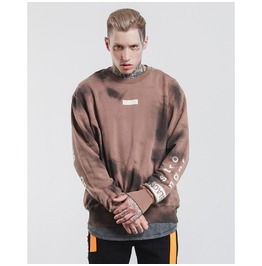 Men's Letter Printed Distressed Contrast Loose Pullovers