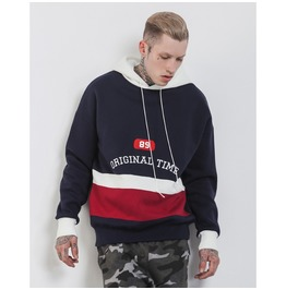 Men's Letter Embroidered Colorblock Thick Hoodies