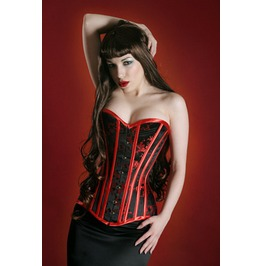 Red & Black Brocade Corset