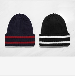Men's Contrast Stripe Knit Winter Warm Beanie Cap