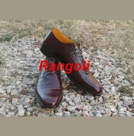 Handmade Mens Crocodile Leather Print Formal Shoes, Men Fashion Dress Shoes