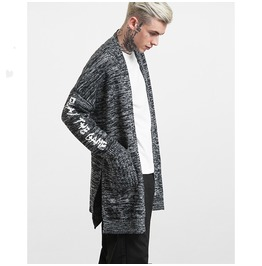 Men's Letter Jacquard Weave Sweater Casual Long Cardigan