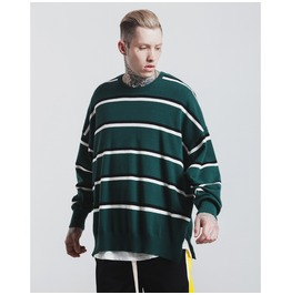 Men's Contrast Stripe Slim Fitted Sweater