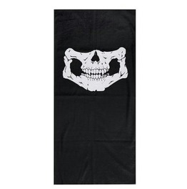 Cool Black Skull Biker Face Mask Neck Tube Thin Fabric