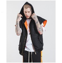 Men's Contrast Color Cotton Padded Sleeveless Hooded Vest
