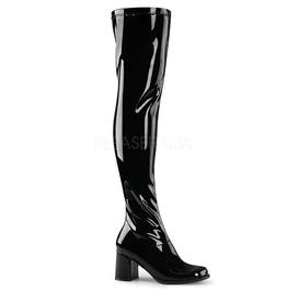Block Heel Gogo Over The Knee Sexy Black Boots