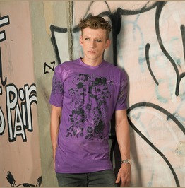 Mens Purple Punk Distress Dyed T Shirt With Floral Skulls Print