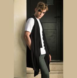 Dark Elegant Draped Long Mens Vest From Soft Black Bamboo