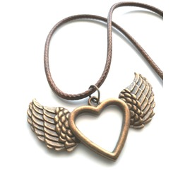 Bronze Antique Colour Metal Heart Angel Wings Pendant Brown Leather Chord
