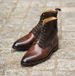 Men Brown Suede And Leather Lace Up Boots, Mens Fashion Leather Boots