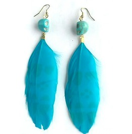 Eye Catching Turquoise Skull Gem Bead Large Feather Earrings