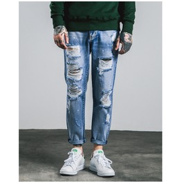 Men's Distressed Faded Straight Leg Jeans