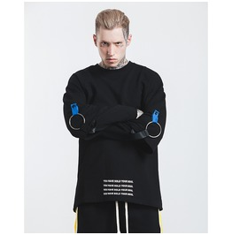 Men's Metal Ring Loose Fake Two Pieces Pullovers
