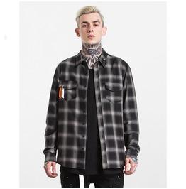 Men's Side Button Design Plaid Shirt