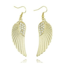 Angelic Angel Wing Design Gold Metal Earrings With Diamantes