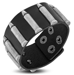 Genuine Black Leather Row Of Bullet Stud Snap Wristband Bracelet