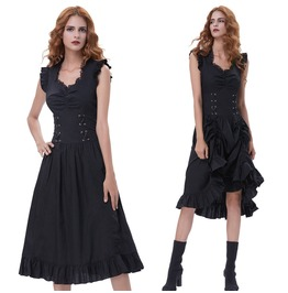 Victorian Lady Sleeveless Lace Up Gothic Steampunk Black Corset Maxi Dress
