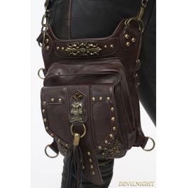Brown Gothic Punk Steampunk Skull Waist Shoulder Messenger Bag