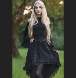 Black Gothic Tail Sexy Dress With Big Trumpet Sleeves Dw128