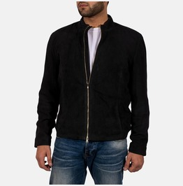Men Genuine Black Suede Leather Jacket, Men Biker Leather Jacket