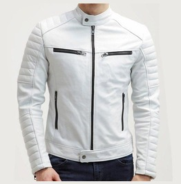 New Men Fashion Trend White Motorcycle Leather Jacket, Men Biker Fashion