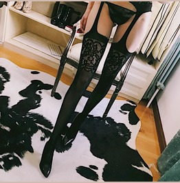 Sexy Garterbelt Style Black Baroque Lace Stocking Thigh Goth Gothic Hot