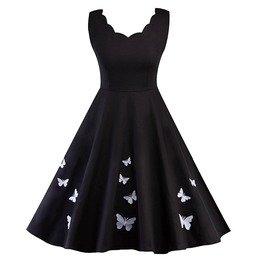 Retro Vintage Butterfly Print Sleeveless Dress