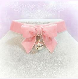 Kitten Play Collar Daddys Girl Choker Necklace Pink Velvet Bow Bell Pastel