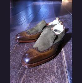 Handmade Men Two Tone Wing Tip Brogue Fashion Shoes Moccasins Men Shoes