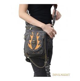 Black Gothic Punk Steampunk Skull Rivet Waist Shoulder Messenger Bag
