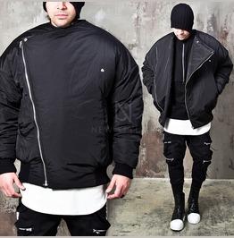 Diagonal Zip Up Oversized Fit Padded Jacket 306