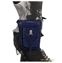 Blue Gothic Punk Skull Rivets Cross Body Waist Shoulder Messenger Bag