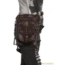 Brown Gothic Steampunk Skull Cross Body Waist Shoulder Messenger Bag