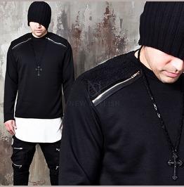 Lamb Wool Contrast Shoulders Zipper Shirts 196