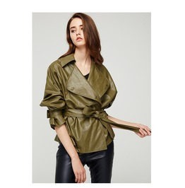 Army Green Large Lapel Pu Leather Belted Short Jacket