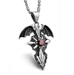 Bat Wing Titanium Steel Pendant With Red Diamante On Chain Necklace