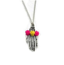 Silver Skeleton Hand Necklace With Roses In Coral Or Hot Pink