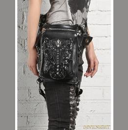 Black Gothic Punk Cross Body Unisex Motorcycle Waist Shoulder Messenger Bag