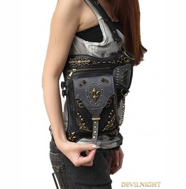 Black Vintage Gothic Steampunk Cross Body Motorcycle Waist Shoulder Messeng