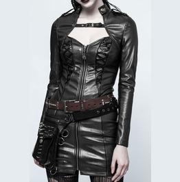 Women Gothic Leather Jacket Women Visual Kei Slim Dress Rock Steampunk Shor