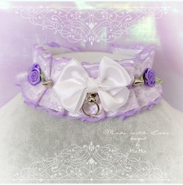 Kitten Pet Play Collar Ddlg Choker Necklace Lilac Purple O Ring Bow Rose