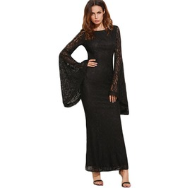 Long Gothic Black Flare Sleeves Floral Lace Maxi Dress