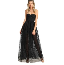 Black Gothic Sexy Bustier Star Flock Women Mesh Overlay Party Maxi Dress