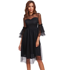 Black Gothic Dot Mesh Overlay Layered Bell Sleeve A Line Autumn Midi Dress