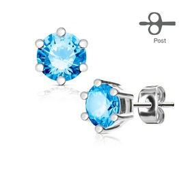 6 Prong Set Aqua Cz Silver Tone 316 L Surgical Steel Post Stud Earrings Pair