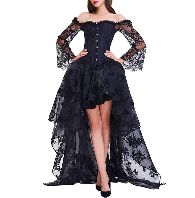 gothic black off shoulder short front long back lace