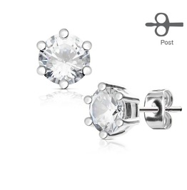 6 Prong Set Clear Cz Silver Tone 316 L Surgical Steel Post Stud Earrings