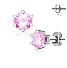 6 Prong Set Pink Cz Silver Tone 316 L Surgical Steel Post Stud Earrings Pair