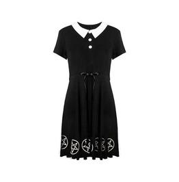 Gothic Harajuku Blach&White Pentagram With Ribbon Women Dress